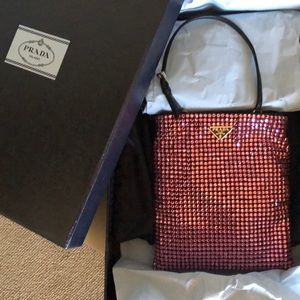 PRADA Nylon Crystal Embellished Crossbody Bag Pink